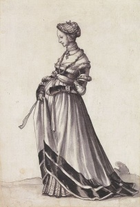 Basel Woman Walking towards the Left, Costume Study by Hans Holbein the Younger, 1523