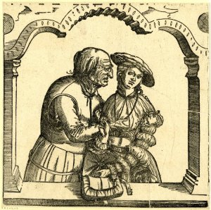 """Old Man Caressing a Young Woman"" from 1530 by Sebald Beham"