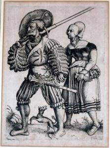 German Landsknecht and wife (1525-30) Eching by Daniel Hopfer.