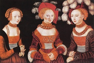 Lucas Cranach (Northern Renaissance Painter, 1472-1553)  and his workshop The Saxon Princesses (Sibyl, Emilia and Sidonia of Saxe) c 1535